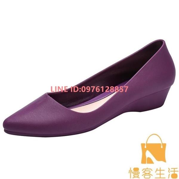 時尚果凍雨鞋女膠鞋短筒防水防滑低幫雨靴淺口單鞋工作鞋【慢客生活】