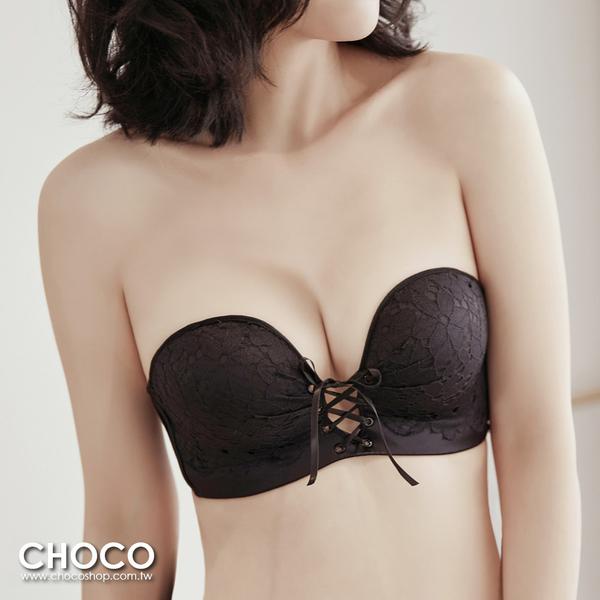 Choco Shop-危險誘惑‧低脊心無鋼圈集中深V爆乳內衣(黑色) 70B~85C