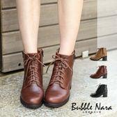 軍靴 踝靴 走路去紐約粗跟短靴。波波娜拉 Bubble Nara。都會時髦單品,細緻拋光打磨木跟GC2001