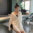 白色網紅襯衫設計感小衆2019新款洋氣長袖寬鬆韓版初秋女上衣輕熟