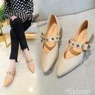 鞋子女2020秋季新款尖頭粗跟瑪麗珍淺口單鞋鉚釘皮帶扣低跟高跟鞋 黛尼時尚精品