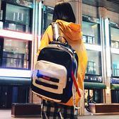雙肩包潮牌雙肩背包百搭時尚書包男女韓版原宿簡約高中學生港風校園 摩可美家