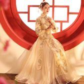中式婚紗 薄款中式婚禮古代修身復古嫁衣