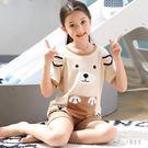 兒童睡衣女夏季女童薄款夏裝套裝女孩中大童短袖棉質兩件套家居服短衣LZ2207【甜心小妮童裝】