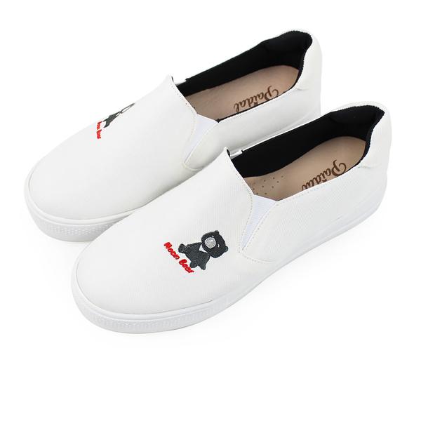 Paidal 保特紗厚底小白鞋休閒鞋加硫鞋-黑熊寶