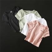 加州少女字母速干衣緊身露臍短款運動上衣健身服跑步瑜伽短袖T恤