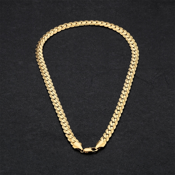 奈米電鍍18K金項鍊 扁狀麟片造型金色項鍊 男性單戴項鍊 好友禮物 單件價【DKG661】Z.MO鈦鋼屋