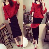 套裝裙女韓版毛衣洋裝修身中長款針織兩件套時尚洋裝