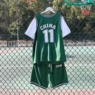 短袖T恤假兩件ins潮流夏季潮牌籃球服隊服bf男女情侶球衣班服套裝 依凡卡時尚