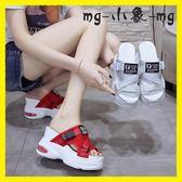 外穿拖鞋-拖鞋時尚外穿厚底坡跟鬆糕鞋增高高跟鞋涼拖鞋