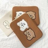 卡通可愛倆只熊IPAD平板內膽包收納袋11寸13寸蘋果筆記本電腦包 橙子精品