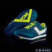 PONY 女休閒慢跑鞋 SOHO 復古款 百搭 深藍鞋面+螢光黃邊色  【6154】