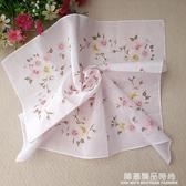 艷遇純棉復古風手絹柔軟親膚環保全棉女中國風桃花手帕方巾大號款
