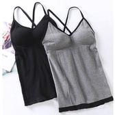 【帶胸墊】網紅吊帶背心女學生韓版外穿帶胸墊性感美背打底上衣