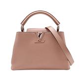 【台中米蘭站】全新展示品 Louis Vuitton Capucines BB 牛皮手提斜背二用包(M94635-玉蘭粉)