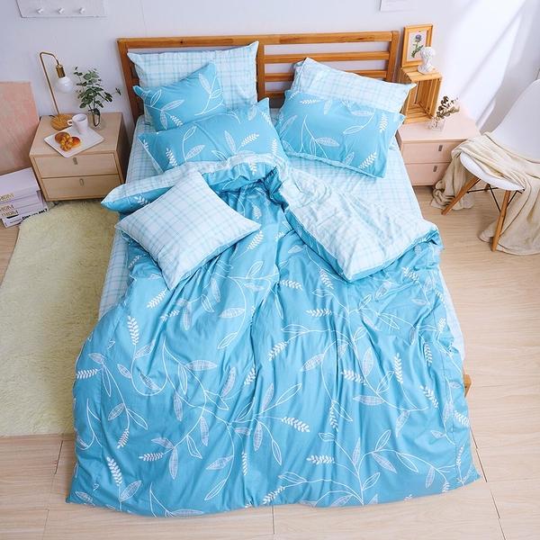 床包兩用被組 / 雙人加大【小葉曲】含兩件枕套 100%精梳棉 戀家小舖台灣製AAS315