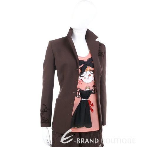 SPAZIO 咖啡色花飾點綴西裝外套 0510905-07