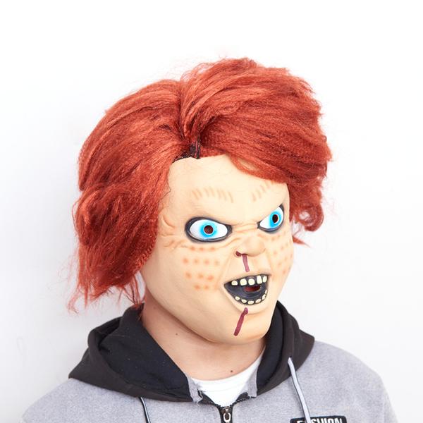 萬聖節 頭套 鬼娃恰吉 (帶頭髮) 面具 附水果刀 鬼娃回魂 恰吉 王世堅 惡搞面具 驚悚面具【塔克】