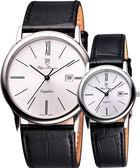 Olympianus 復古簡約風尚對錶/情侶手錶-銀/黑 130-10GS+130-10BS