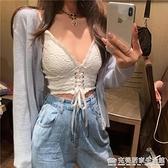 蕾絲吊帶背心女無袖內搭外穿潮夏季系帶打底顯瘦白色短款性感上衣 蘇菲小店