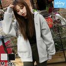【V2538】shiny藍格子-百搭休閒.純色寬鬆輕刷毛連帽長袖外套