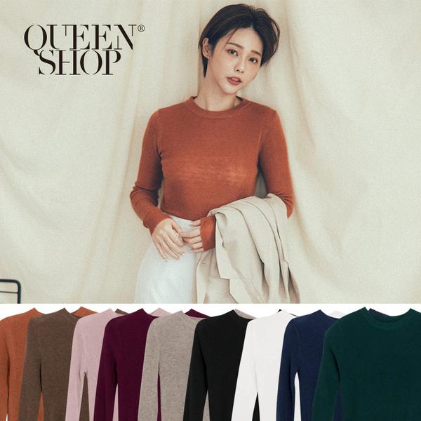 Queen Shop【01012387】基本素色圓領長袖針織上衣 九色售*現+預*