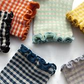 韓國復古格子花邊中筒襪子ins少女木耳邊彩色洛麗塔棉襪子