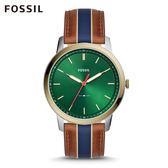 FOSSIL MINIMALIST 駝x藍色條紋極薄款手錶 男FS5550