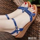 平底涼鞋 大東公主軟底坡跟涼鞋女夏季新款平底媽媽鞋中老年低跟涼鞋 韓菲兒