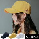 OT SHOP [現貨]帽子 老帽 棒球帽 鴨舌帽 棉質 英文字母 愛心刺繡 帽圍可調 配件 黑/薑黃/白色 C2134