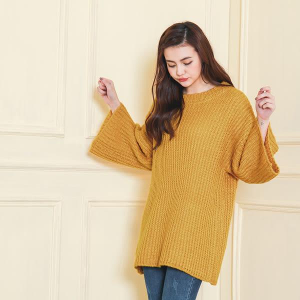 【首爾妹】不收邊寬鬆粗針織上衣(2色) -SEOUL MATE(1712221)