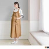 《MA0244-》半開襟棉麻雙口袋孕婦連身裙 OB嚴選