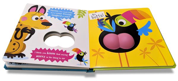 【麥克書店】BUTT OUT / 幼兒啟蒙觸摸書《主題: 幽默.動物》