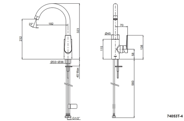 【麗室衛浴】美國 KOHLER Taut 廚房龍頭 K-74053T-4-CP