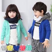 長袖外套 男女童加厚純棉保暖V領休閒開衫外套 W69017
