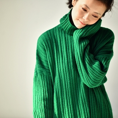 高領針織衫 麻花豎紋針織衫 側開叉長袖毛衣女/2色-夢想家-M9983C-1124