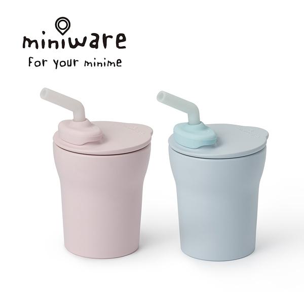 Miniware 天然聚乳酸兒童學習餐具 1-2-3 Sip! 愛喝水水杯組-寧靜海藍/柔粉棉花