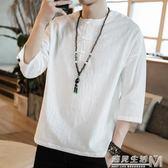 短袖T恤中國風夏男裝亞麻棉麻大碼上衣寬鬆中袖七分袖半截袖唐裝  遇見生活