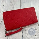 BRAND楓月 LOUIS VUITTON LV 路易威登 M41858 亮紅色 皮革 牛皮 原花壓紋 拉鍊長夾 皮夾