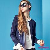 【SHOWCASE】圓領俏麗藍白配色短版薄針織外套(藍)