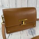 BRAND楓月 TOD'S 焦糖色 棕色 金釦 T字LOGO 斜背包 側背包