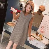 中大尺碼 秋冬裙兩件式中長款打底t恤毛呢背心裙子套裝新款連身裙 js19793『科炫3C』