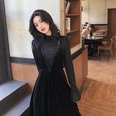 赫本風金絲絨黑色吊帶連衣裙女秋裝新款御姐輕熟風兩件套裝女【新年好】