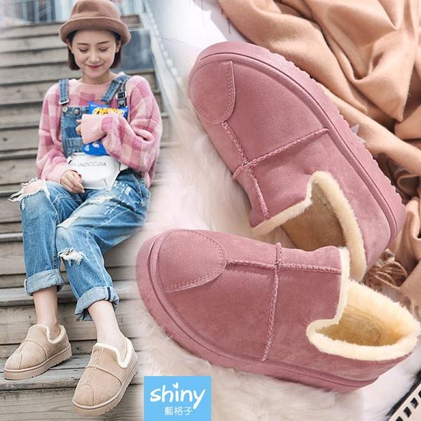 【V8989】shiny藍格子-冬日伴隨.冬季保暖加絨短靴平底麵包鞋