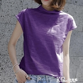 夏季竹節棉寬鬆短袖t恤女裝韓國半袖女上衣大碼純棉半高領打底衫