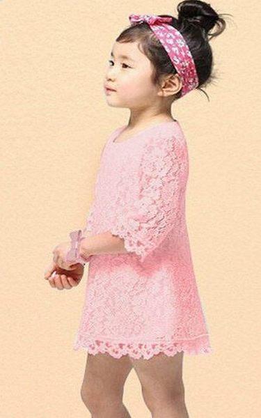 超低折扣NG商品~短袖洋裝 純白蕾絲荷葉中袖連衣裙 小禮服 童裝 AL31602 好娃娃