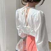 韩国chic法式小众设计感露背性感系带圆领简约白色衬衫外穿上衣