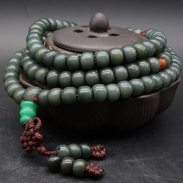 佛像手鏈 108顆天然翡翠綠菩提根桶珠風化綠菩提根陰皮桶珠珠菩提子念珠【快速出貨】