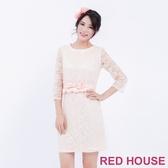 【RED HOUSE 蕾赫斯】七分袖圓領蕾絲合身洋裝(粉色)