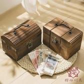 實木帶鎖箱儲蓄罐只進不出兒童禮物存錢罐復古藏寶【櫻田川島】